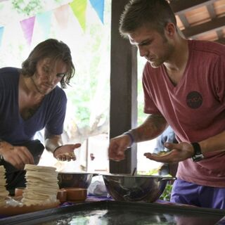 Elliot & Andrew making Empanadas in the first leg.