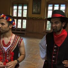 Leo & Jamal in costume for the <i>Polka</i> Detour in the <a href=