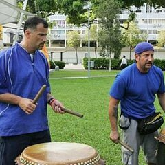 Louie & Michael doing the <i>Pound the Drums</i> Detour in the <a href=