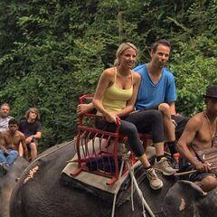 Jeremy & Sandy riding an elephant in <a href=