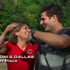 Toni & Dallas finish 1st on Leg 9.