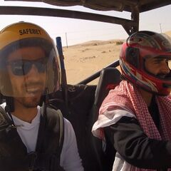Leo & Jamal riding a Dune Buggy in the <a href=