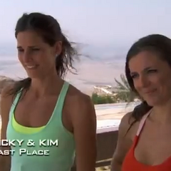 Nicky & Kim were eliminated from the race in 6th place after having been <a href=