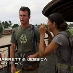 Garrett & Jessica were eliminated from the race in 11th place after Jessica's struggle with the ducks at the <a href=