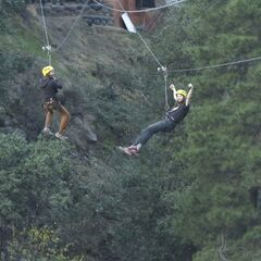 Brandon & Adam zip-lining.