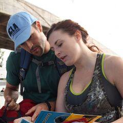 Brendon & Rachel reading a clue in the second leg.