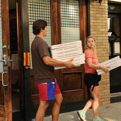 Trey & Lexi delivering Pizzas in the final leg.