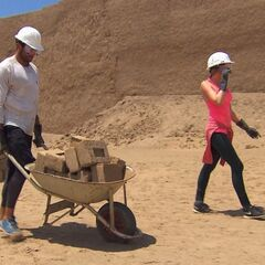 Laura &amp; Tyler doing the <i>Make Some Bricks</i> Detour in the <a href=