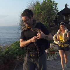 Burnie & Ashley carrying snakes in <a href=
