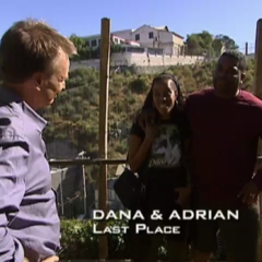 Dana & Adrian were eliminated from the race in 11th place after Adrian couldn't get past the Roadblock.