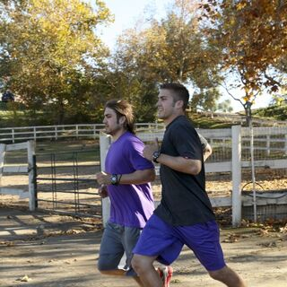 Elliot & Andrew running to the <a href=