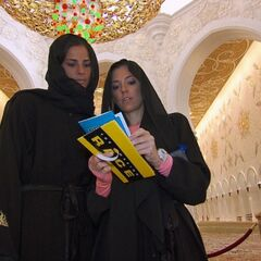 Nicky & Kim reading their clue at the <a href=