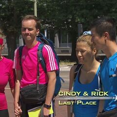 Cindy & Rick (right) were eliminated from the race at 7th place after boarding the wrong tram.