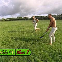 Meghna & Cheyne doing the <i>Farmer's Game</i> Detour in the seventh leg.