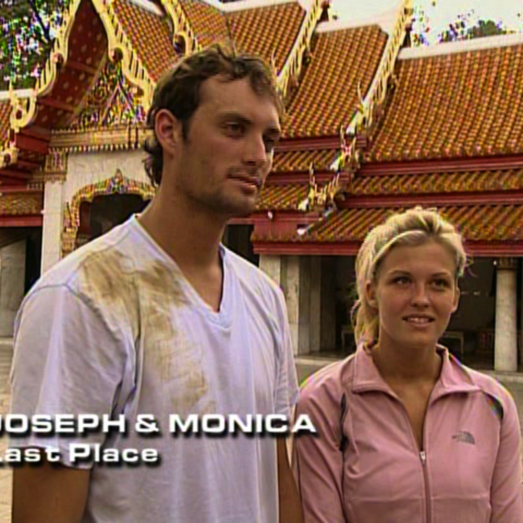Joseph & Monica were eliminated from the race in 4th place after Monica's meltdown at a physically demanding Detour.