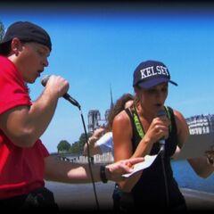 Kelsey & Joey doing the <i>Drops Mic</i> Detour in Leg 6.