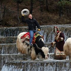 Cord riding a Yak during the <a href=