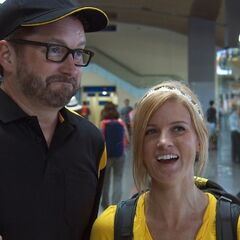 Burnie &amp; Ashley at the airport in <a href=