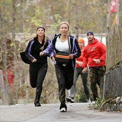 Christie & Jodi racing against <a href=