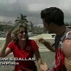 Toni & Dallas finish 6th on Leg 1.