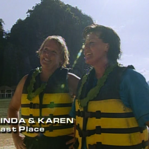 Linda & Karen were eliminated from the race in 4th place after Karen ran out of energy at the Roadblock.