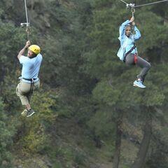 Nicole & Travis zip-lining.