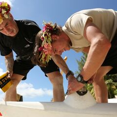 Dave & Connor working on their Outrigger Canoe in <a href=