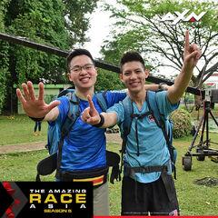 Alphaeus & Brandon after winning the first leg.