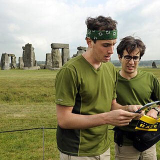 Connor &amp; Jonathan reading a clue at <a href=