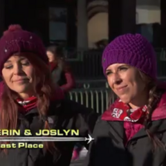 Erin & Joslyn are eliminated from the race in 8th after Erin's multiple stumbles at the Roadblock.