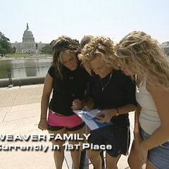 The Weaver Family are the first to find their clue at the Reflecting Pool in Washington, D.C.