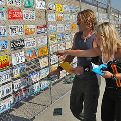 Eric & Lisa searching for the correct license plate.
