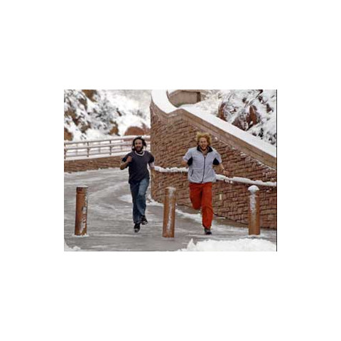 BJ & Tyler running toward the Finish Line.