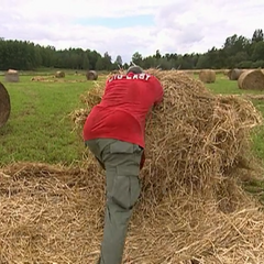 Big Easy rolls out hay bales at the Roadblock on the <a href=