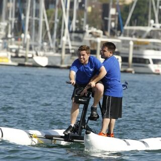 Alex & Adam doing the first task of the race.