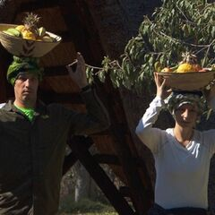 Justin &amp; Diana carrying fruit baskets to the <a href=