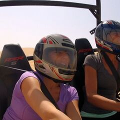 Nicky & Kim in the dune buggy in the <a href=