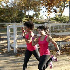 Kerri & Stacy running to the Starting Line.
