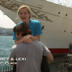 Trey & Lexi celebrate coming in first place in the <a href=