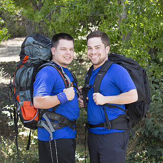 An alternate promotional photo of Alex & Adam for <i>The Amazing Race</i>.