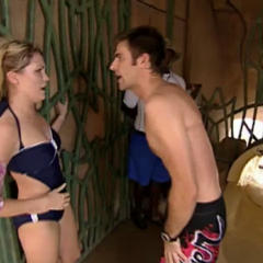 Canaan pleading with Mika to go down the waterslide.
