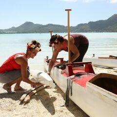 Mona & Beth preparing their outrigger canoe during the <a href=
