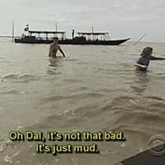 Toni &amp; Dallas looking for fishing traps at the <i>Village Work</i> Detour.