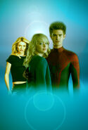 Promotional art of Andrew Garfield, Emma Stone & Cameron Diaz in The Amazing Spider-Man 2 (2014)