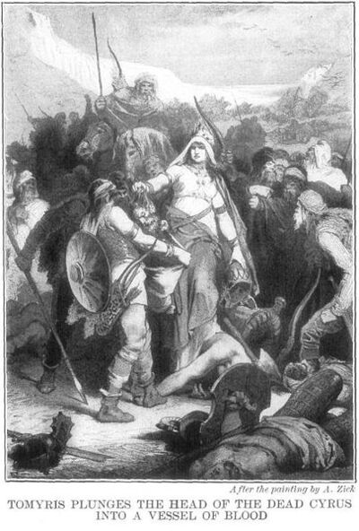 405px-Tomyris Plunges the Head of the Dead Cyrus Into a Vessel of Blood by Alexander Zick