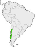 Mapa de Chile en Sudamérica