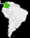 Mapa de Colombia en Sudamérica