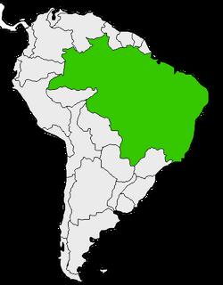 Mapa de Brasil en Sudamérica