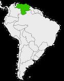 Mapa de Venezuela en Sudamérica