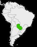 Mapa de Paraguay en Sudamérica